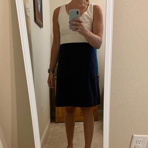 Jcrew classic dress navy and off white